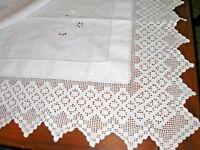 "Vintage Irish Linen White Hemstitched 5"" Lace Tea Bridge Card Tablecloth Croche"