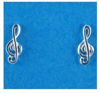 Sterling Silver 925 Treble Clef Ear Studs