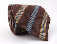 Massimo Bizzocchi by KITON Silk Necktie_Brown w/Blue/Tan Regimental Stripes Long