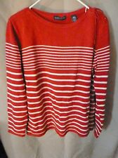 Woman's Karen Scott100% Cotton Red & White Striped Sweater Size M