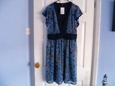 LADIES DRESS SIZE 16 H&M BLUE FLORAL