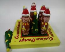 "5"" Curious George Christmas Wooden Tic Tac Toe Toy Game Midwest Cannon Falls Nwt"