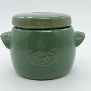 Vintage Ceramic Green Sugar Bowl With Lid Ear Handle on Each Side Preowned