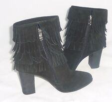 Catherine Malandrino Black Fringe Women's Ankle Boots Side Zipper Booties 8M NEW
