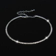 Fashion Silver Diamante Rhinestone Wedding Choker Necklace Jewelry For Women 1Pc