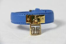 Tory Burch bracelet fret lock leather with gold logo blue