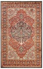 Vintage Rare Fine Silk Handmade Rug Tree Of Life Quality 4x7 Red 122cmx198cm