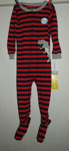 Carter's striped dinosaur zip up footy pajamas, 18 month, NWT