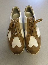 ECCO white and brown leather, spikeless golf shoes. Women's 8 (eur 39)