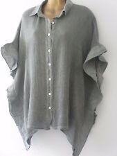 FREE SIZE14-20 ITALIAN LAGENLOOK KHAKI GREEN LINEN COTTON BLEND FRILL SIDE SHIRT