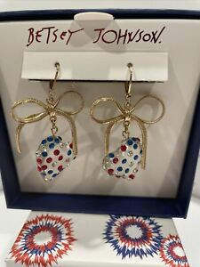 NEW Betsey Johnson Gold Tone Hearts On Fire Red, White and Blue Dangly Earrings