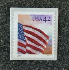 2008USA #4244-4247(4246) 42c American Flags PNC Plate Number Coil Single (V1111)