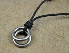 PN112 Mens Black Leather Surfer Beach Vintage Choker Necklace Double Rings