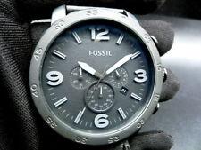 New Old Stock - Fossil NATE JR1354  - Black Dial Black Leather Quartz Men Watch