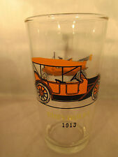 Old Timers Autos glass by Hazel Atlas Ford 1908, Chevrolet 1913 Tumbler 5 1/8""