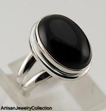 BLACK ONYX & 925 STERLING SILVER RING JEWELRY SIZE 7.75  Y970A