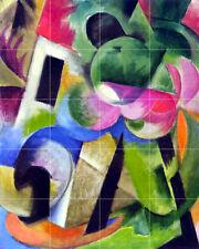 Franz Marc Abstract Mural Tumbled Marble Backsplash Tile #1012