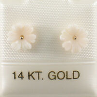 Natural Pale Pink Coral Carved Flower 14K Solid Yellow Gold Stud Earrings TPJ
