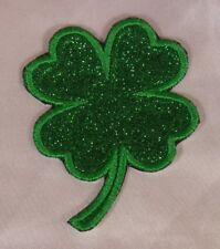 Embroidered Glitter Sparkle Green Shamrock Lucky Four Leaf Clover Patch Iron On