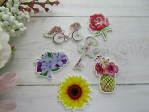🌹 FLORAL FLOWERS LILLY ROSE RESINS FLATBACKS CRAFT SCRAPBOOKING BOWS CHOICES