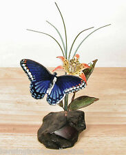 SCULPTURES -  RED SPOTTED PURPLE BUTTERFLY TABLETOP SCULPTURE - WOOD & METAL