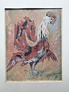 "Evel Knievel 1983 Lithograph Print ""Red Rooster"" Signed -"