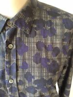 TED BAKER Black White Check Purple Rose Print Shirt Size (3) Small Long Sleeve