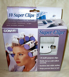 Conair Super Clips 10 multi purpose clips for rollers section hair styling New
