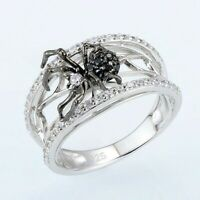 Fashion Spider 925 Silver Rings for Women White Sapphire Wedding Ring Size 6-10