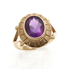 Vintage 9k yellow gold oval purple Amethyst bezel ring Engraved 2.4 carat Estate