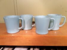 1950'S FIRE KING TURQUOISE MUGS - SET OF 4 - with D HANDLE