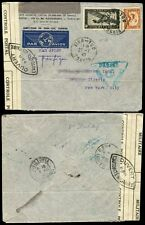 INDOCHINA 1940 AIRMAIL HONG KONG CENSOR + FRENCH MILITARY...TINH TUC CANCELS