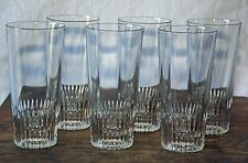 """Set of 6 Crisal 6"""" Tall Notched / Star; highball glasses Mid century modern"""