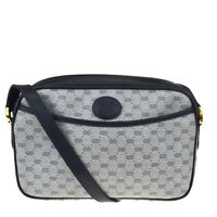 Authentic GUCCI GG Pattern Crossbody Shoulder Bag PVC Leather Blue Italy 64MF223