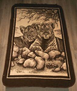VINTAGE SAN MARCOS PLUSH LIONESS LION CUBS REVERSIBLE BLANKET 56 X 84