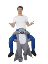 Piggyback Shark Costume Mens Rideon Stag Do Halloween Fancy Dress Outfit