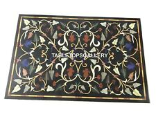3'x2' Black Marble Table Top Marquetry Outdoor Inlay  Dining Room Furniture B006