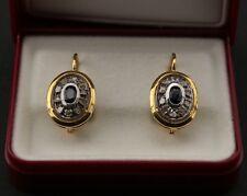 Orecchini oro 18 kt con zaffiro blu  e diamante taglio a rosa stile antico