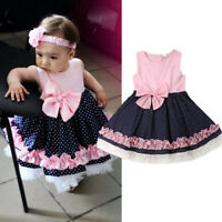 Princess Kids Baby Girls Lace Polka Dots Dress Sleeveless Party Pageant Dresses
