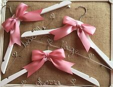 Set Of 3 Personalised Wedding Dress Coat Hanger With Ribbon Any Name Any Colour❤
