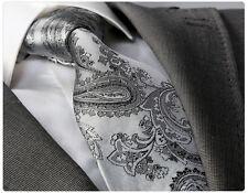 GREY PAISLEY TIE with HANKY - ITALIAN DESIGNER Milano Exclusive