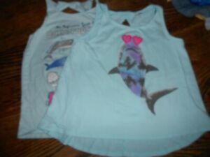 Girls Shark Ocean Tank Tops 7/8 Lot of 2