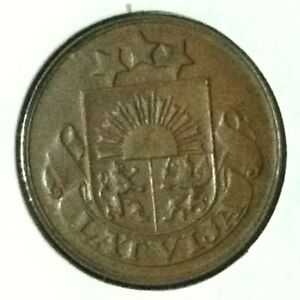 Latvia  2 Santimi KM 2 XF/AU 1932