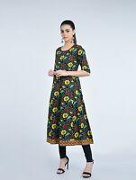 Yellow Floral Indian Pakistani Women Ethnic Designer Kurta Kurti Top Tunic New