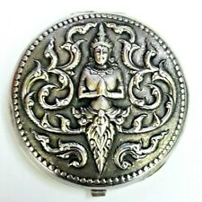 Vintage Siam Sterling Silver Powder Mirror Compact with Thepanom God Repousse.