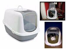 Jumbo Cat Litter Box Carbon Filter Toilet Hooded Tray XXL Spacious White Grey