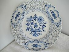 Late 19thC Hand Painted Meissen Onion Plate with Pierced Boarder