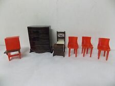 Vtg Plasco Dollhouse Furniture Dresser, Chairs, School Desk , Night Stand