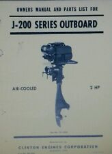 Clinton J-200 Outboard 2hp Marine Fishing Boat Operator & Parts Repair Manual 8p