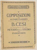 BENIAMINO CESI METODO PER LO STUDIO DEL PIANOFORTE 1923 PIANOFORTE PIANO MUSICA